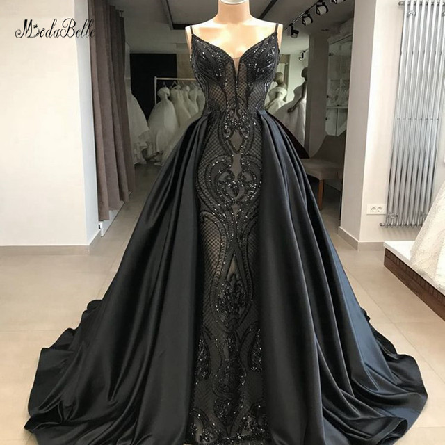 modabelle Black Sequins A-line Evening Dresses Saudi Arabia Spaghetti Straps Long Evening Gown Dresses With Detachable Skirt
