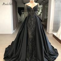 modabelle Black Sequins A line Evening Dresses Saudi Arabia Spaghetti Straps Long Evening Gown Dresses With Detachable Skirt
