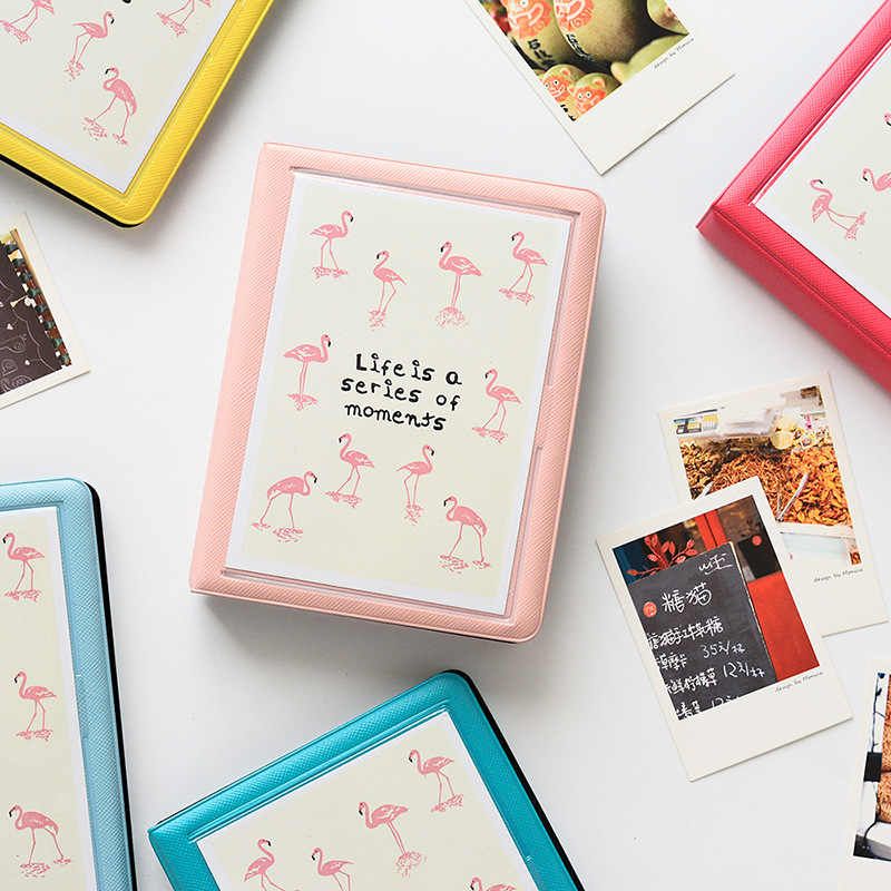 32 Pockets Flamingo Photo Album Holder Candy Color Album for 5 Inch Mini Instax & Name Card Photo Album