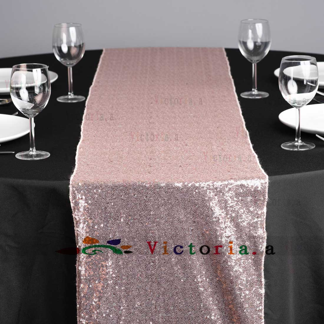 10 Pieces 25x274cm Luxury Rose Gold Sequin Table Runner Wedding Party Decoration Solid Color Runners