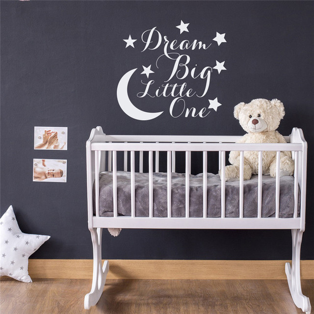 Moon starswall decal quote dream big little one kids nursery wall decals childrens bedroom diy pattern