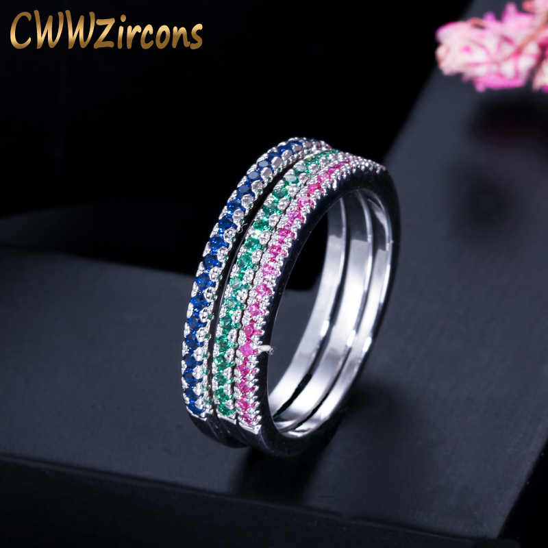CWWZircons Fashion Simple Design Red Green Blue Cubic Zirconia Stones Rings Set For Women CZ Wedding Engagement Jewelry  R013