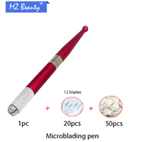 Embroidery machine pen Aluminum alloy Manual tattoo pen kits with 20 pcs needle blade+50pcs Disposable finger sets microblading