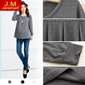 Fashion Autumn and Winter Long Sleeve Round Collar Maternity Shirt Cotton Casual Tops for Pregnancy