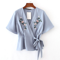 Summer Fashion Women Novelty Kimono Blue Bow Tie Ladies Blouse Colorful Floral Embroidery Short Sleeve Chiffon Femme Shirt Tops