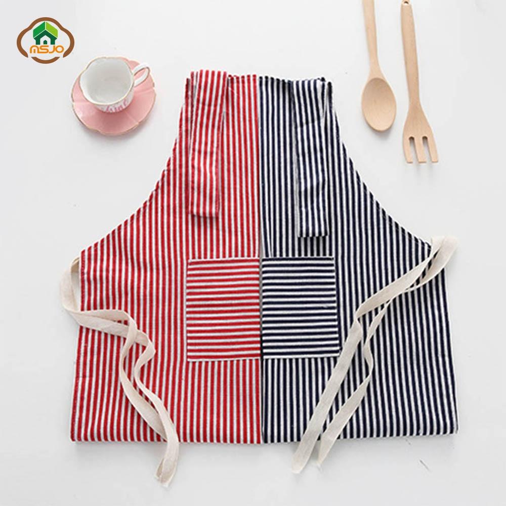 MSJO Cleaning Apron With Pocket Kitchen Linen Patterns Cotton Women Men Funny Culinary Art Delantal Cute bib Barista