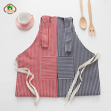 MSJO Cleaning Apron With Pocket Kitchen Linen Patterns Cotton Women Men Funny Culinary Art Delantal Cute bib Barista