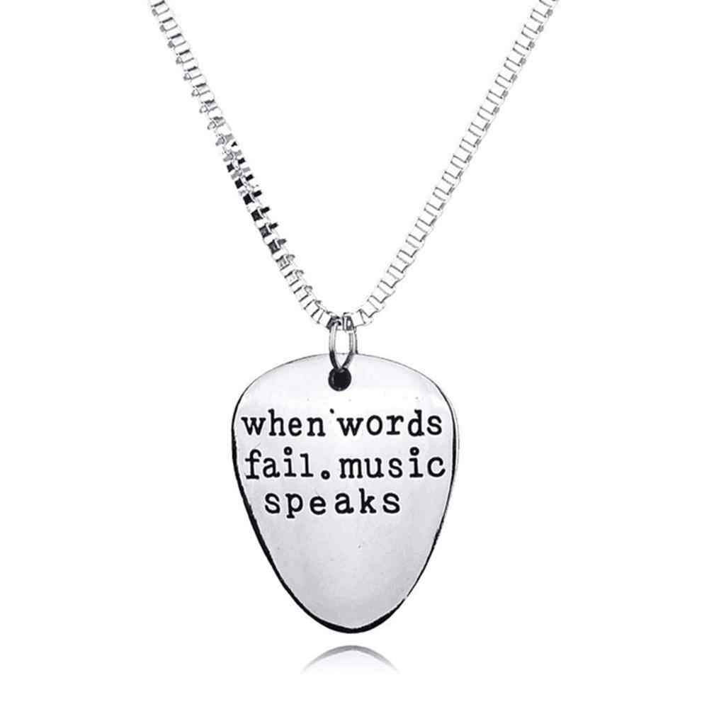 Gift Chain Fashion Necklace Man Woman When Language Failure Music Says Guitar Pick Pendant Necklace Jewelry Gift Choker Pendant