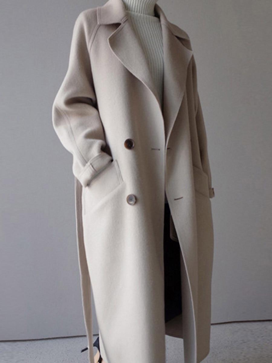 18 Winter Coat Women Wide Lapel Belt Pocket Wool Blend Coat Oversize Long Trench Coat Outwear Wool Coat Women 2