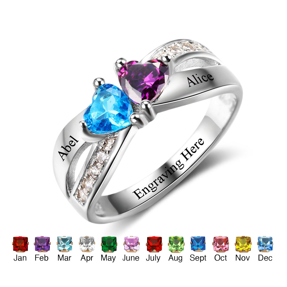 Engagement Rings Personalized Jewelry 925 Sterling Silver Heart Birthstone Engrave Name Pomise Rings For Women(RI102504) personalized birthstone ring 925 sterling silver heart stones engrave name jewelry engagement gift mother rings ri101793