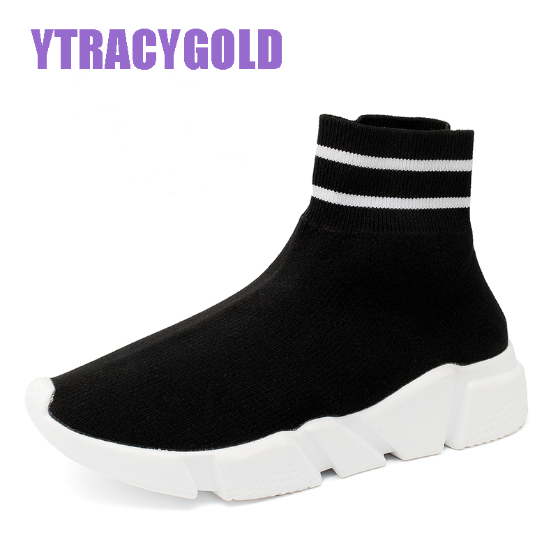YtracyGold Brand Casual Shoes Women Zapatos Mujer Ladies Trainers Flats Sneakers Women Tenis Feminino High Top Socks Shoes все цены