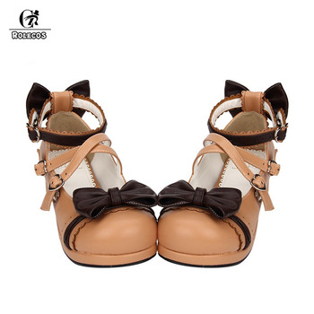 ROLECOS Sweet Lolita Shoes For Women Round Toe Ankle Strap Cosplay Shoes With Bowknot Female Japanese Shoes LOlita Cosplay Shoes 1
