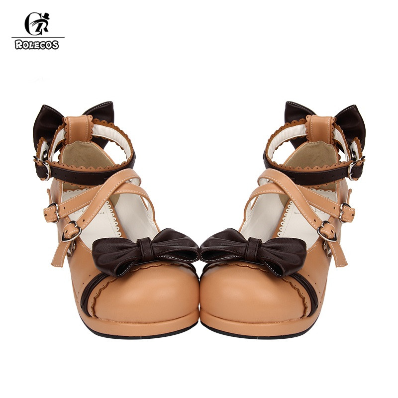ROLECOS 2018 Sweet Lolita Shoes For Women Round Toe Ankle Strap Cosplay Shoes With Bowknot Female Japanese Shoes japanese gothic lolita cosplay ankle t strap shoes medium platform heel round toe girls shoes with wing red black