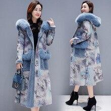 2019 Winter Retro Print Lambswool Jacket Coat Women Long Faux Fur Coat Female Hooded Warm Overcoat Womens Plus Velvet Thick Coat