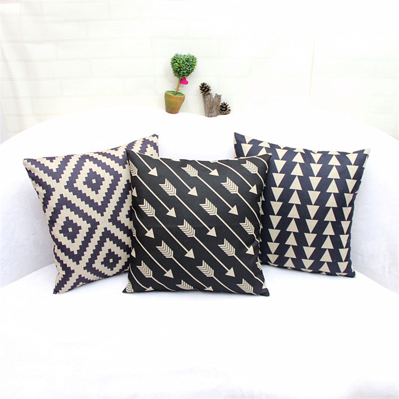 Black Beige Linen Geometry Accent Decorative Throw Pillow Cases Square Cushion Cover Set of 3 ...