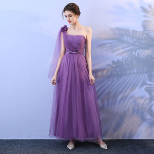 Taro Purple Colour Bridesmaid Dress Long Style One-shoulder Mesh Dress Banquet Wedding Dress Back of Bandage