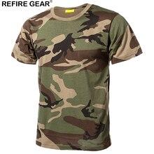 Refire Передач Открытый Quick Dry футболки мужские хлопковые камуфляжные Пейнтбол Охота Рубашки дышащий военно-тактические футболка с камуфляжным принтом