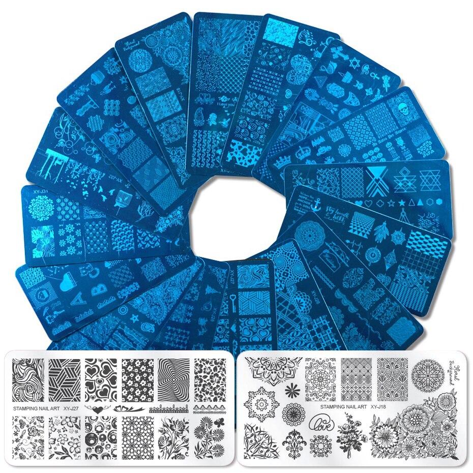 Трафареты для дизайна ногтей, 1 шт., кружевные геометрические пластины для стемпинга, лист, цветы, мандала, штамп, трафареты для ногтей, полировка, изображение пластины, JIXYJ17 32|Шаблоны для дизайна ногтей|   | АлиЭкспресс