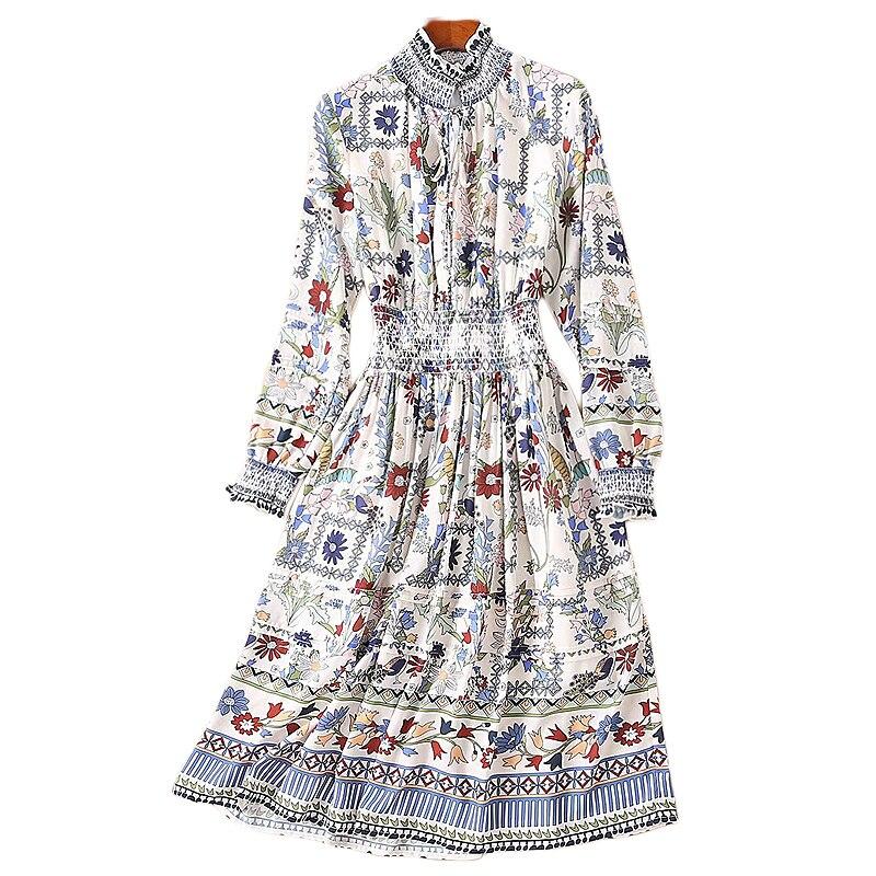 XF 1109-8 19 2019 Spring Fashion Designer Runway Spring Women'S Round Neck Long Sleeve Bohemian Flower Print Slim Dress