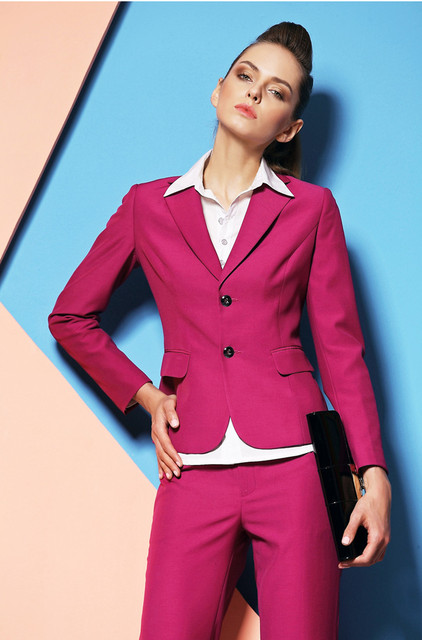 dd675dbd0eb Newest Elegant Fashion Hot pink Women Formal Suits For Business Women  Professional Long Sleeve Spring Autumn Career Sets