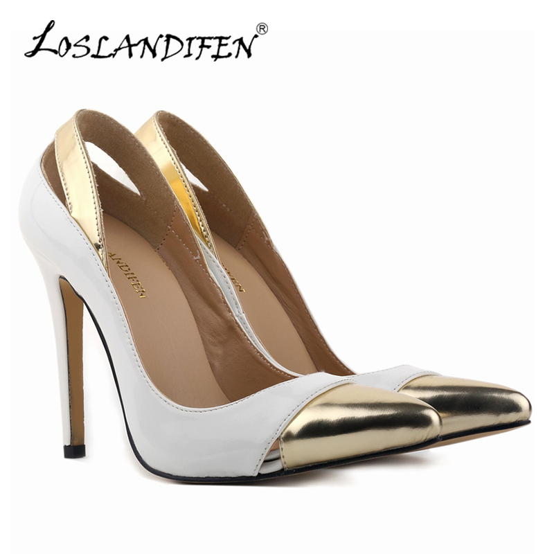 LOSLANDIFEN Sexy Women Patent Leather Mix Color Pumps Pointed Toe Thin High Heels Woman Shoes Spring Shallow Party Simple Pumps sexy black leather pointed toe high heels pumps shoes newest woman s lace up thin heels shoes party shoes