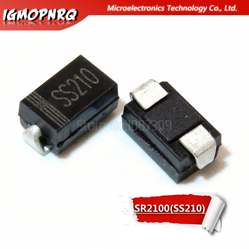 100PCS SS210 SR2100 2A//100V SMA DO-214AC SMD Schottky Diodes