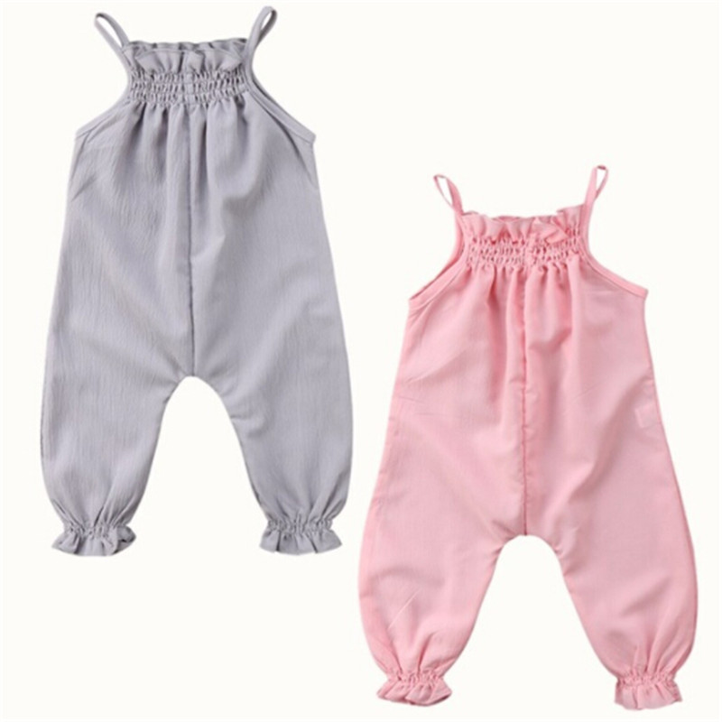 Summer Cute Baby   Rompers   Toddler Baby Girls Sleeveless Strap Ruffles Long Trousers Chiffon   Romper   Jumpsuit Playsuit 0-24M