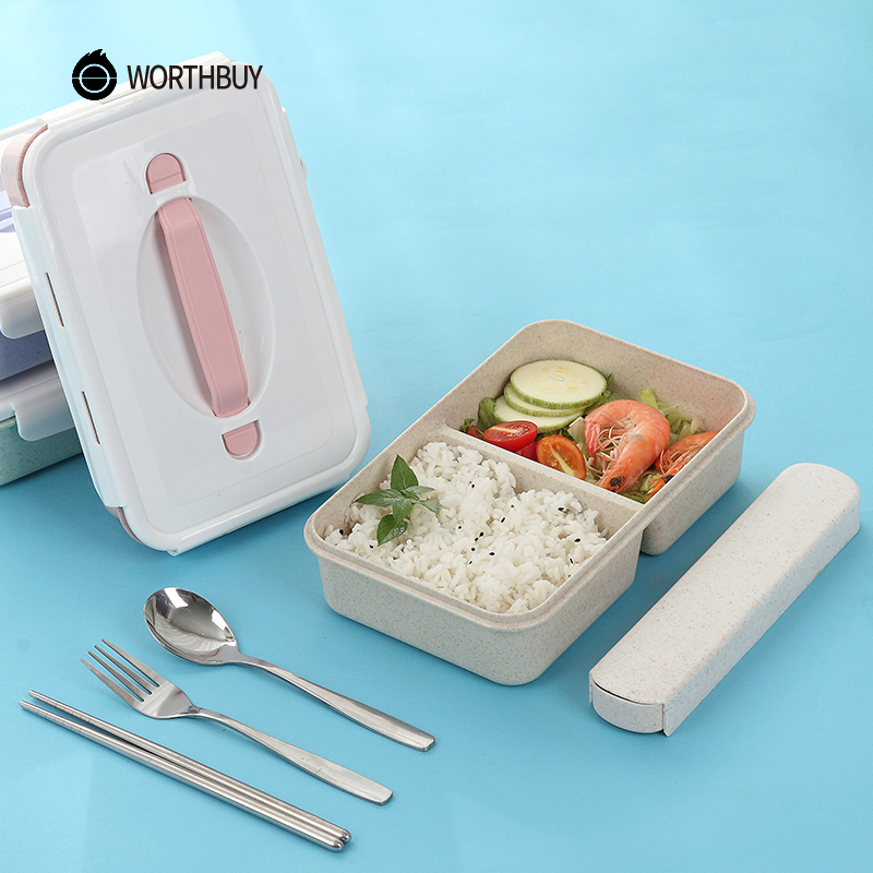 WORTHBUY Japanese Plastic Bento Box Portable Kids Microwave Lunch Box With Compartments BPA Free Wheat Straw Food Container Box
