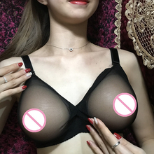 (A Pair 800g Classic Triangle False Boobs Artificial Silicone Breast+Semi transparent Tulle Bra) C Cup Set For Crossdresser