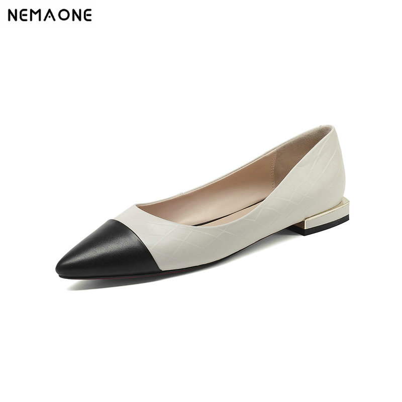 NEMAONE Genuine Leather Flat Shoes Women Hand sewn Leather Loafers Cowhide Flexible Spring Casual Shoes Woman Flats Women Shoes