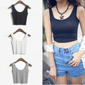 WOMEN'S Ladies SCOOP NECK CROPPED BELLY TOP SLEEVELESS FITTED TEE STRETCHY qoima