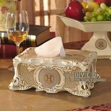 "Porcelain tissue box ivory porcelain ""H"" mark mosaic design embossed outline in gold decoration tissue box home tissue box gifts"