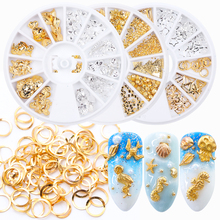 1Wheel Metal Charm Nail Studs Alloy Strass 3D Decoration Hollow Gold Silver Seahorse Star Heart Round Nail Art Accessories BE773 цена