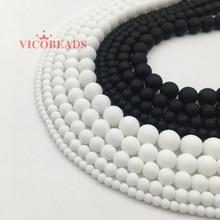Pedra natural branco preto maçante polonês matte onyx agata contas redondas 16