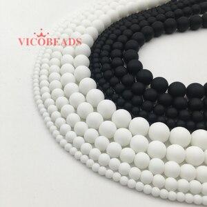 """natural stone White Black Dull Polish Matte Onyx Agata Round Beads 16""""/Strand 4 6 8 10 12 14 MM Pick Size(China)"""