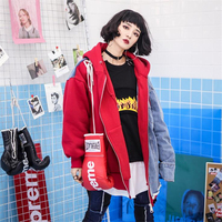2018 Autumn Winter Street leisure hole Basic Hooded Loose Jackets Coats For Women Denim Splicing Pockets Zippers Outerwear