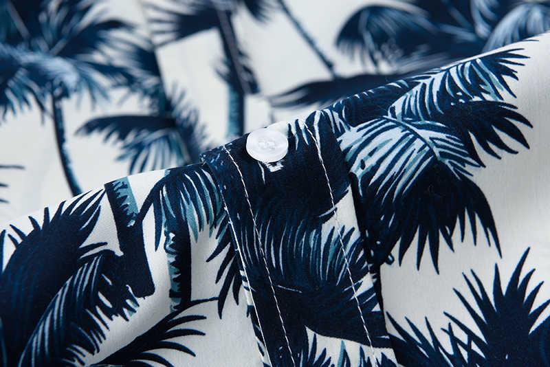 Розовая Гавайская Мужская рубашка с принтом пальмы, лето 2019, новинка, короткий рукав, 5XL, тропическая Алоха, рубашки для мужчин, одежда для отдыха