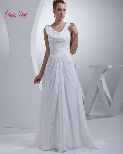 Taoo Zor 2017 A Line Ivory Chiffon Wedding Dresses Petite Size Sashes Pleat  V