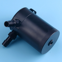 DWCX Universal Black 2 Port Compact Baffled Oil Catch Can Tank Separator Tool Safe for Pressurized Applications