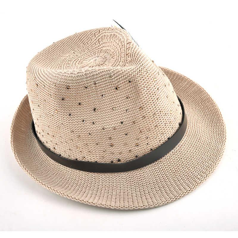 Moda 2017 Primavera verão chapéus de sol para as mulheres e homens jazz Cap trança de Palha Da Praia do Verão Chapéu Panamá pena diamante femal Topper