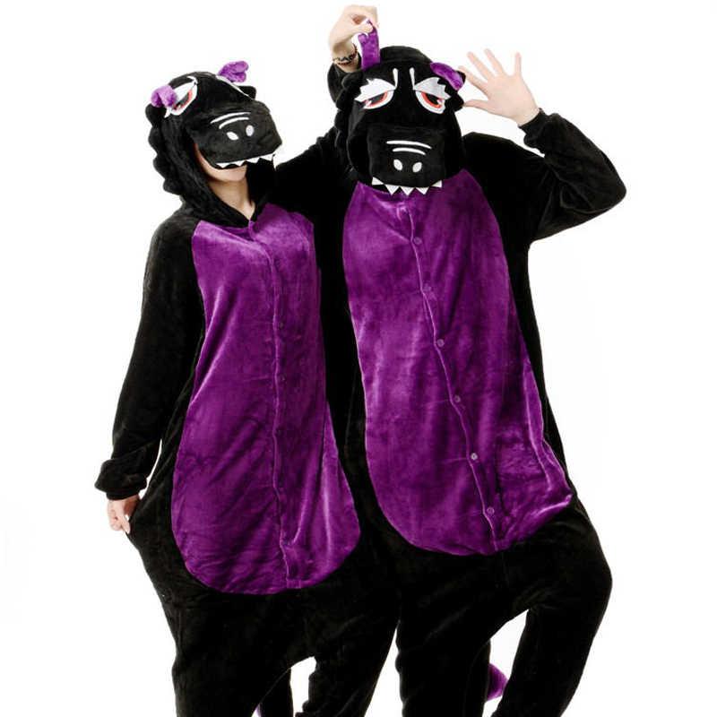 HKSNG дешевые зимние теплые взрослых мультфильм животных Черный Фиолетовый  динозавр Рождество пижамы комбинезоны костюмы дракона домашняя 7d992f7c8228f