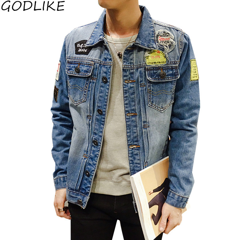 Mens Jean Jacket 2019 Fashion Autumn Bomber Jacket Men Denim Jacket Male Bomber Long Sleeve Blue Coat Male Plus Size 4XL 5XL