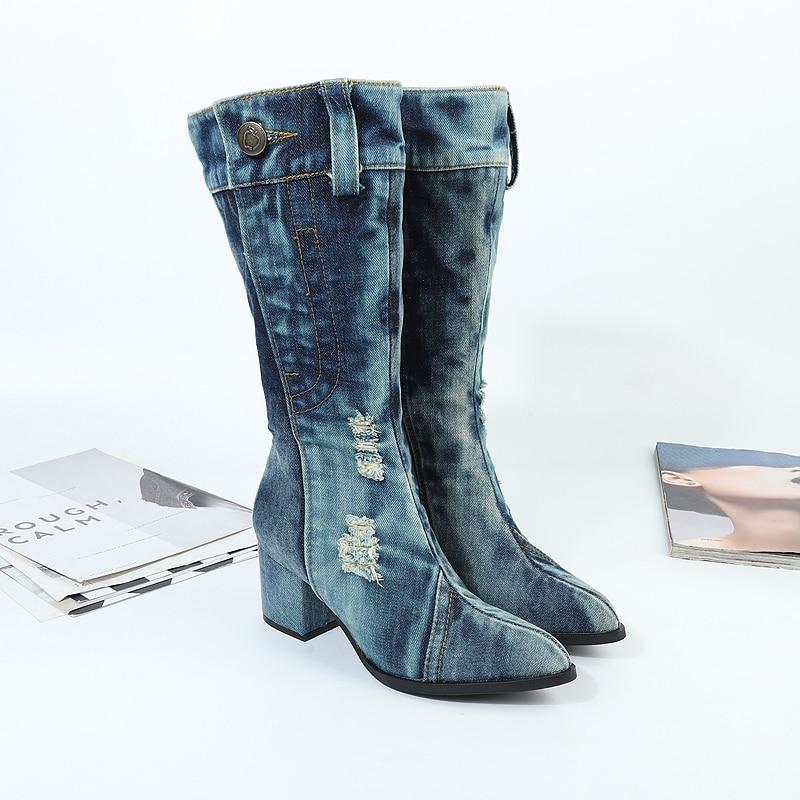 Toile Longues 35 Denim À Automne Blue 41 Talons Martin Femmes Chaussures De Nouvelle Hauts Épais D'hiver Et Bottes Taille THdqWc