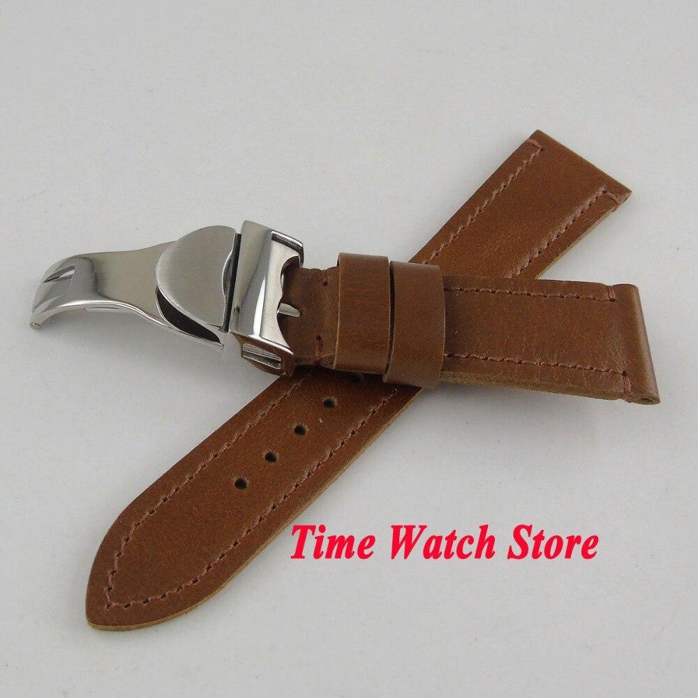 22mm largeur bracelet en cuir brun montre bande deplyant fermoir Fit parnis montre hommes de montre S1