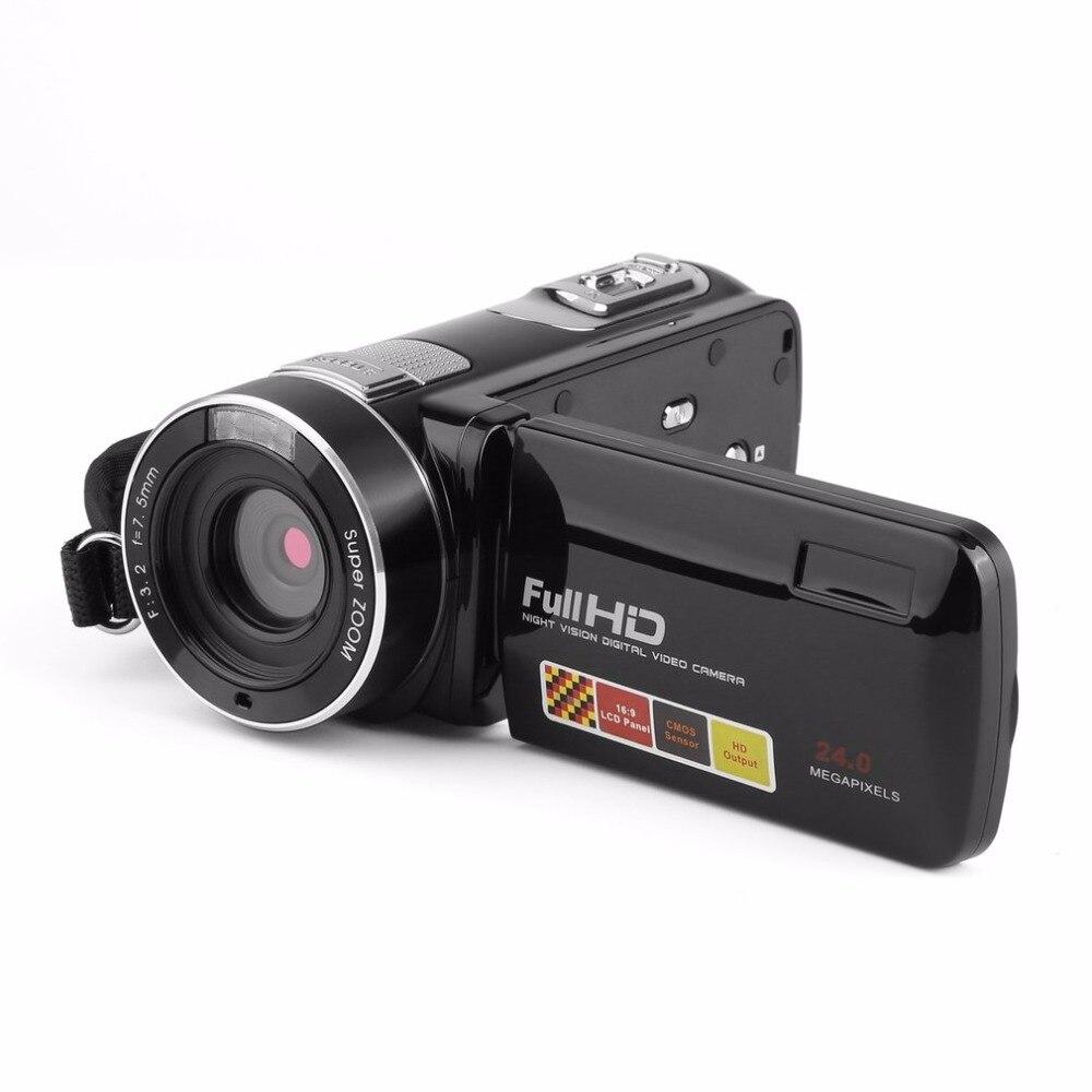 Портативный Ночное видение Full HD 1920x1080 3.0 дюймов ЖК-дисплей сенсорный экран 18x24 Мп цифрового видео Камера видеокамера
