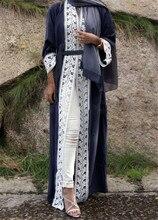 S-2XL 2017 Fashion Muslim Dress Open Front Abaya Vintage Kaftan Dress Long Dresses Plus Size Robe Long Dresses