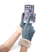 New Winter Female Lace Warm Cashmere Three Ribs Cute Bear Mittens Double thick Plush Wrist Women Touch Screen Driving Gloves 81C cheap Gloves Mittens NIUPOZ Fashion Solid Adult Suede Spring Autumn Winter Plush inside Double thickening Black Bean Cyan Khaki Bean color Pink Gray Red