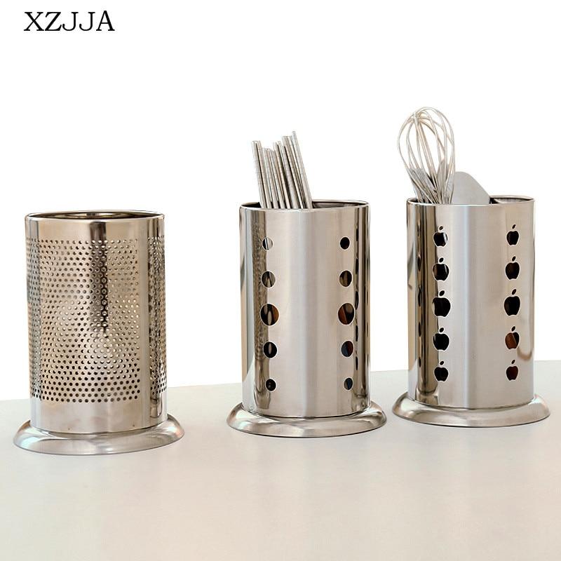 XZJJA Creative Metal Drainage Chopsticks Cage Spoon Storage Rack Cutlery Organize Holder Multifunction Home Kitchen Accessories