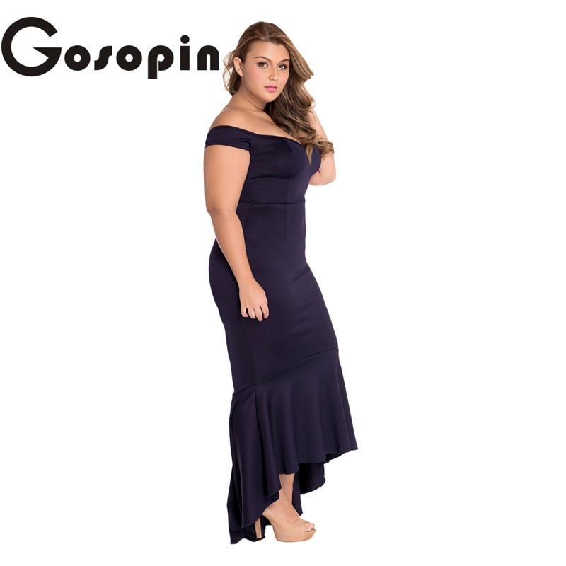 Gosopin summer party dress 2017 Black Maroon Big Size XXLOff shoulder  Mermaid Jersey Maxi Dress Vestidos de Festa Longo LC60171-in Dresses from  Women s ... 766f10dacf03