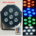 Free&Fast shipping hot new Wireless remote control flat led par 7x12w rgbw quad stage wash light